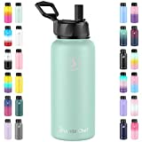 Umite Chef Sports Water Bottle with New Wide Handle Straw Lid, Vacuum Insulated Stainless Steel Thermo Mug, 32 oz Double Walled Wide Mouth Water Bottle,Leak Proof, Sweat Free (Tiffany Blue)