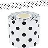 Teacher Created Resources Black Polka Dots on White Scalloped Rolled Border Trim - 50ft - Decorate Bulletin Boards, Walls, Desks, Windows, Doors, Lockers, Schools, Classrooms, Homeschool & Offices