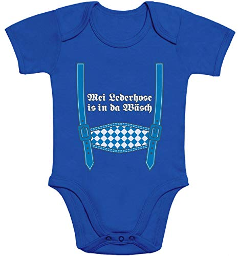 Shirtgeil MEI Lederhose is in da Wäsch - Oktoberfest Baby Body Kurzarm-Body 3-6 Monate Blau