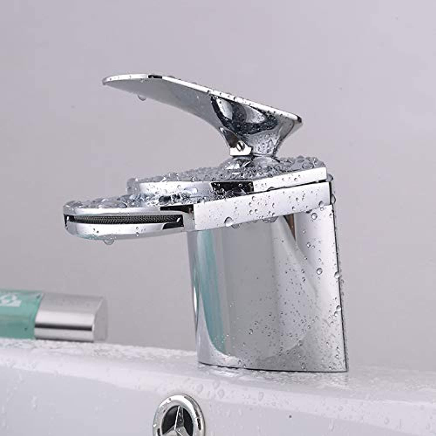redOOY Diy Bathroom Sink Taps Taps Fauce Waterfall Faucet Upscale Wide Mouth Waterfall Faucet Copper Hot and Cold Basin Wash Basin Above Counter Basin