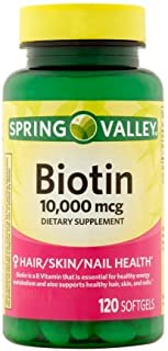 Spring Valley Biotin Dietary Supplement Softgels, 10,000 mcg, 120 count (2 Pack)