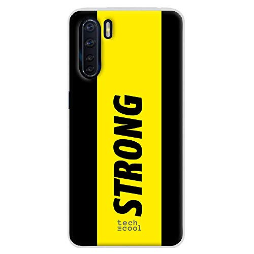 Funnytech® Funda Silicona para OPPO A91 [Gel Silicona Flexible, Diseño Exclusivo] Diseño Frase Strong