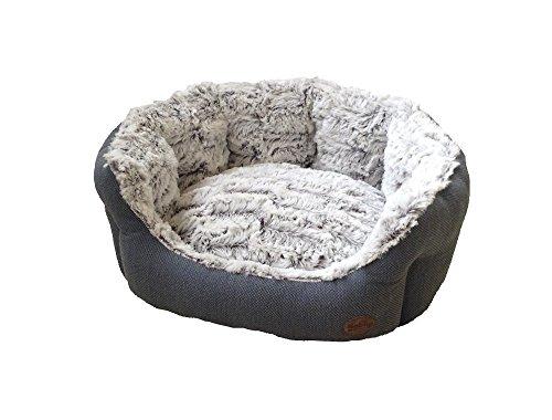 "Nobby Komfort Bett oval ""CACHO"" grau / blau L x B x H: 55 x 50 x 21 cm"