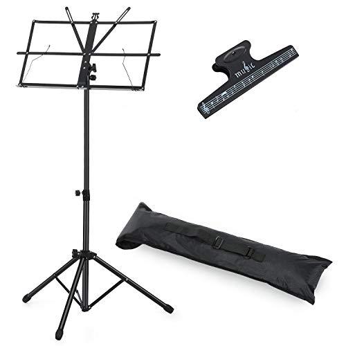 Moukey Musik Notenständer für Kinder, tragbarer Notenständer Gitarre Klappbar Metallständer MMS-1 mit Tragetasche, Einstellbare Höhe, Leicht und Kompakt zum lagern und reisen