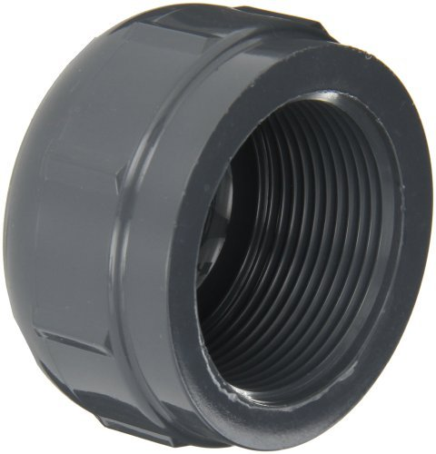 GF Piping Systems PVC Pipe Fitting, Cap, Schedule 80, Gray, 1-1/2 NPT Female by GF Piping Systems