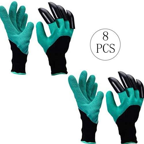 Guantes de jardín con Garras, 4 Pares Trabajo en el jardín Guantes Garden Gloves con Garras Fácil Rápido de Excavar Plantar Guantes de Protección de Corte Protector para Los Hombres Mujeres Jardineros