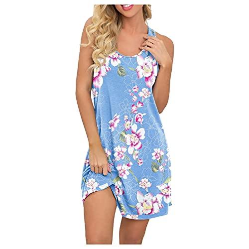 ERNUMK Vestido de verano para mujer, largo hasta la rodilla, sin mangas, corte en A, minivestido, elegante, bohemio, informal, suelto, camisón, C-azul claro., XXL