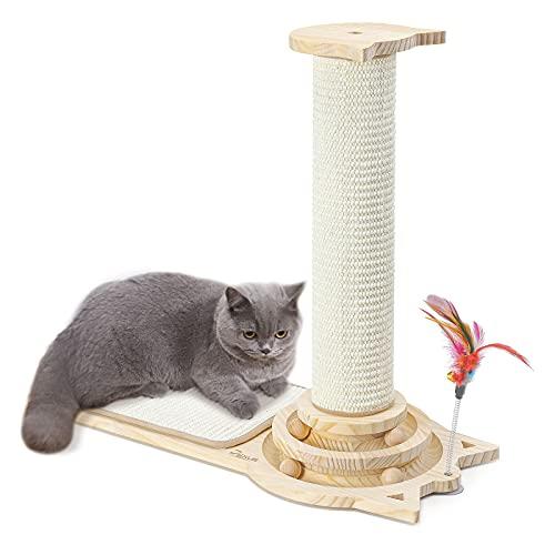 Dexus Kratzbrett für Katzen, Kratzpad Kratzmatte katzenbaum Großer stamm katzenspeil mit 8cm Ø Sisalstamm aus Kiefer Holz, Katzenspielzeug mit Plattenspieler und Ball