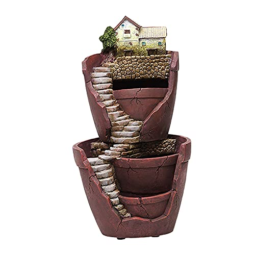 Fenteer Novelty Flower Plants Pot Micro Landscape Artificial Flowers Succulent Plants Pot Flower Pot Holders with Sweet House
