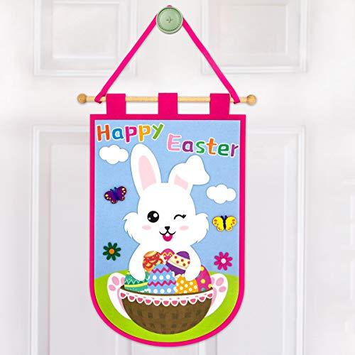 Easter Door Hanging Decoration Happy Easter Door Hanger Bunny Felt Decor for Home Welcome Sign