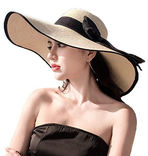 KEIMI(ケイミ)折りたたみ 大きめ リボン つば広 麦わら帽子 レディース 帽子 ストローハット 夏用 紫外線対策 アウトドア 女優帽 リボン日よけ帽 全23色 (NO.3, フリー)