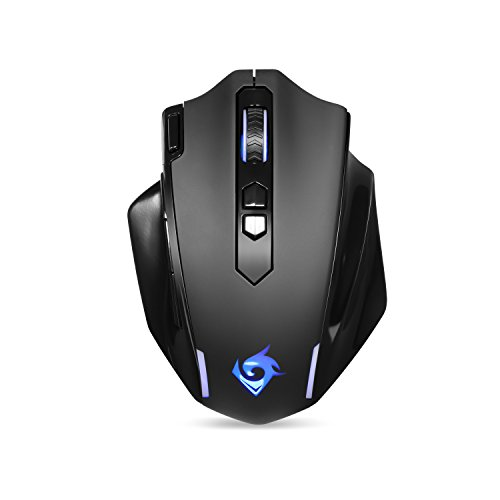 EagleTec MG001 Ergonomic Wireless Gaming Mouse, LED Backlit Cordless Portable Computer Mouse with 9 Button Programmable and Adjustable 4800 DPI for Windows PC Gamer [New Version]
