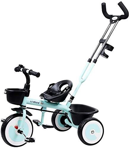 Cochecito de bebé portátil ligero 2 en 1 triciclo para niños con cesta delantera y barra de mango extraíble para padres, rueda vacía de titanio, bicicleta de pedal de 3 ruedas, para 1 a 5 años, verde