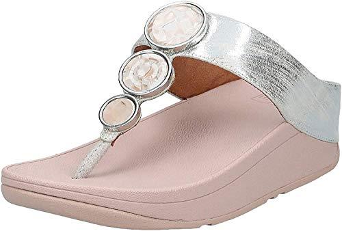 Fitflop Damen Halo Shimmer Toe-thongs, Offene Sandalen mit Keilabsatz, Violett (Mink 068), 41 EU (7 UK)