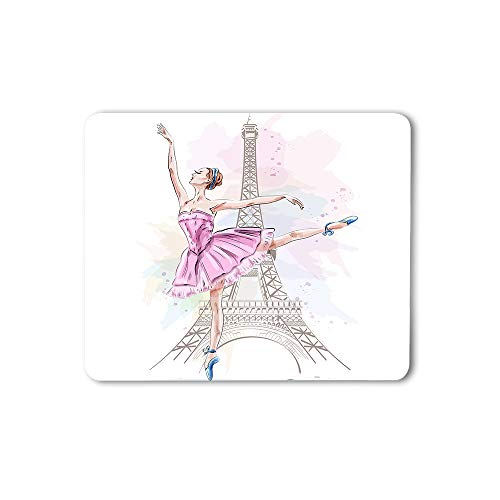 Moslion Ballerina Mouse Pad Eiffel Tower Dancer Paris Eiffel Tower Beautiful Girl Posing Gaming Mouse Mat Non-Slip Rubber Base Thick Mousepad for Laptop Computer PC 9.5x7.9 Inch