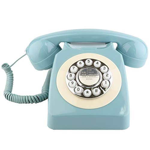 Sangyn Retro Landline Telephone Classic Rotary Design Old Fashioned Corded Desk Phone with Metal Bell for Home and Office,French Blue