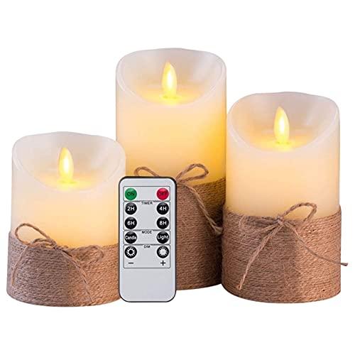 ZHAHAPPY Velas sin Llama - Juego de Velas LED eléctricas de simulación a Pilas con Control Remoto y Temporizador, con Cuerda de cáñamo (Color : Milky White)