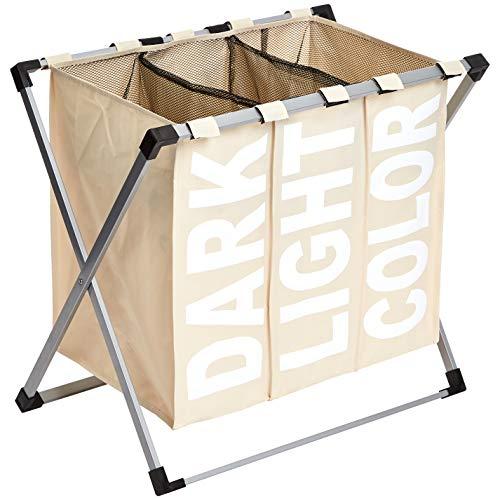 Amazon Basics - Dreifacher Wäschekorb, Beige