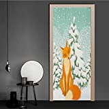 WallStickers Red Fox Sitting in Winter Forest Snow Covered Pine Trees Xmas Cartoon Removable Wallpaper Wall Decal for DIY Home Decor Poster Decoration Orange White Almond Green 38.6 x 78.7 Inch