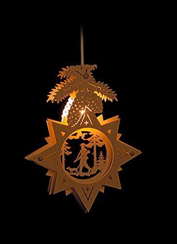 Erzgebirgsstübchen Fensterbild Jäger im Stern beleuchtetes Fensterbild aus Holz Weihnachtsdeko Weihnachten