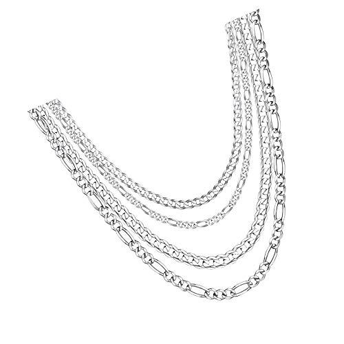 Cadenas de plata de ley 925 para hombre de 5 mm de 60 cm sin colgante
