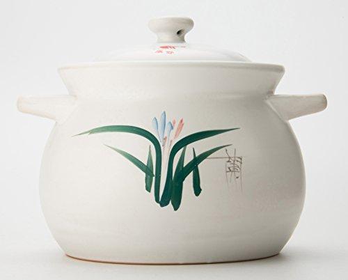 Uniware Heavy Duty Heat Proof Ceramic Pot, White, 5.3 Liter(8.6'D x 6.7'H /22cm D x 17CM H)