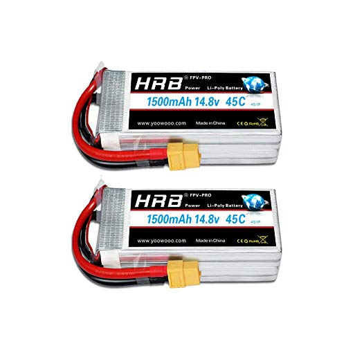 HRB 2pcs 14.8V 4S 1500mAh 45C batería Lipo con Enchufe XT60 para RC Mini Racing Drone FPV Quadcopter, 210 Quad Frame, 250 Racer, AR Drone 2.0, Walkera F210