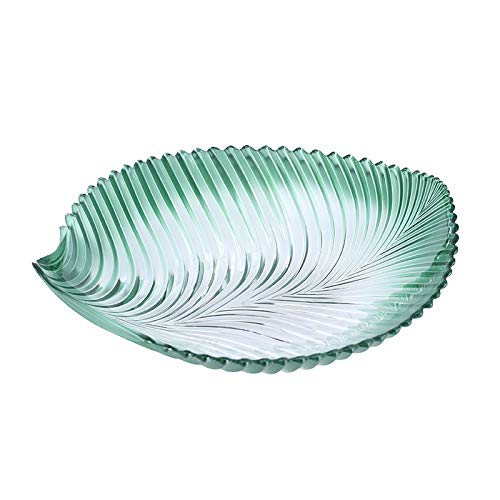 Fruit Bowl bladvorm plastic bakje, transparant Nut Tray, Party Eetbak PC Materiaal Fruitschaal (Color : Green)