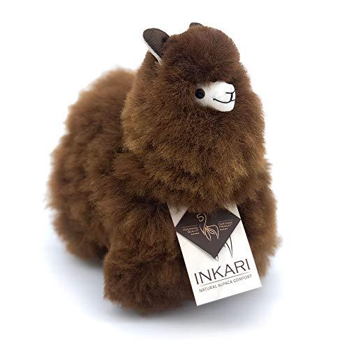 Alpaka Plüschtier, super flauschig aus echter Alpaka-Wolle, handgefertigte Unikate, fair und nachhaltig produziert, großes Stofftier, hypoallergen (S (23cm), Dunkelbraun (Natur))