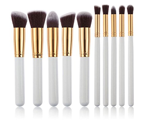 Leisial, set da 10 pennelli professionali da trucco, pennelli cosmetici per ombretto, colori: bianco e oro