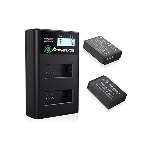 Powerextra Canon LP-E12 互換バッテリー 2個+急速充電器セット Canon EOS M EOS M2 EOS M10 EOS M100 EOS 100D EOS Rebel SL1 EOS KISS X7対応 PSE&CE認証済み 1年品質保証