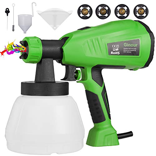 Paint Sprayer, GINOUR 1300ml HVLP Electric Spray Gun with 4 Copper Nozzles, 4 Filter Papers, 3 Spray Patterns, 800ml/min, Flow Control and Perfect for for Fence, Cabinet, Home Painting