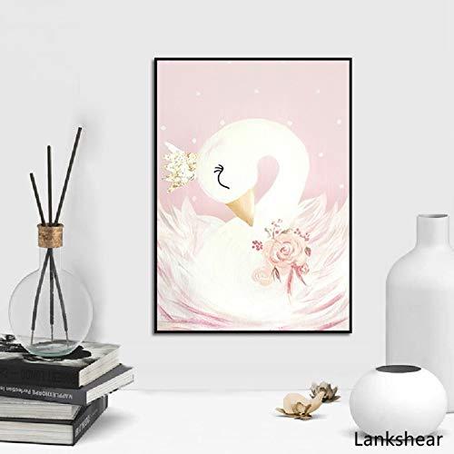 wtnhz Sin Marco Swan Princess Posters Lienzo Pintura Baby Girls Room Arte de la Pared Impresiones Vivero Decorativo Rosa Imagen Niños Niña Decoración de la habitación