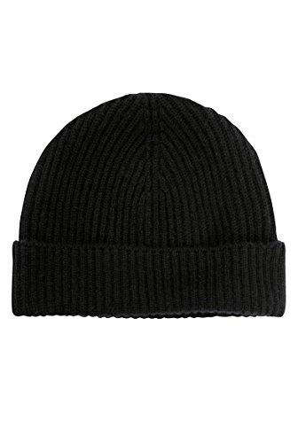 Luxe écossais 100% cachemire Pull côtelé Bonnet - Noir - Taille Unique