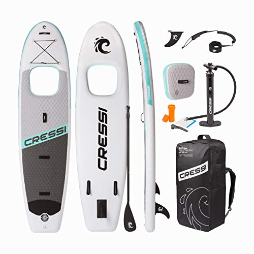 Photo of Cressi Unisex's Kinilau 10'6 Inch Stand SUP Board Set with Window Inc Paddle, Pump, Backpack and Leash, White/Aquamarine, One Size