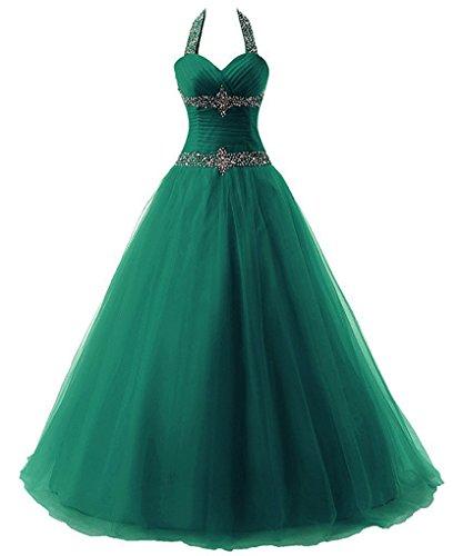 Zorayi Damen Lange Halfter Kristall Tüll A-Linie Abendkleid Prom Ballkleid Partykleider Smaragd Größe 34