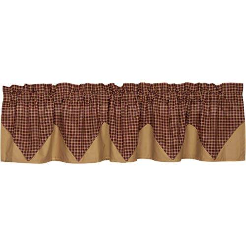 Americana Primitive Kitchen Window Curtains - Patriotic Patch Red Layered Plaid Valance