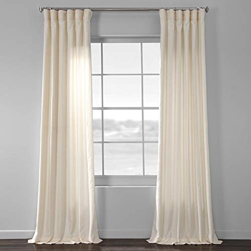 HPD Half Price Drapes SSKR-71833-96 Yarn Dyed Designer Faux Raw Textured Silk Curtain (1 Panel), 50 X 96, French Ivory