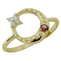 [プレジュール]ガーネット 星 月 スターリング 指輪 K10イエローゴールド 一粒 リングサイズ6号