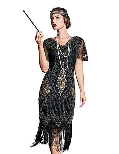 kayamiya 1920s Gatsby Dresses V Neck Inspired Sequins Cocktail Flapper Dress XL Gold