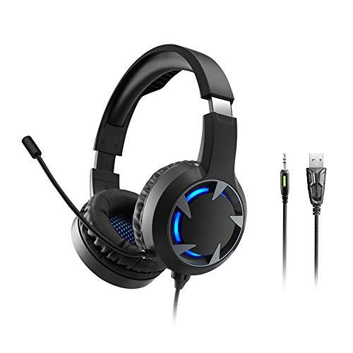 XFF Cuffie da Gioco Cuffie Cablate Microfono Luminou Chiamata Vocale Riduzione del Rumore Surround Stereo Gioco Headsety Cuffie Adatte per PC PS4 Laptop da 3,5 Mm