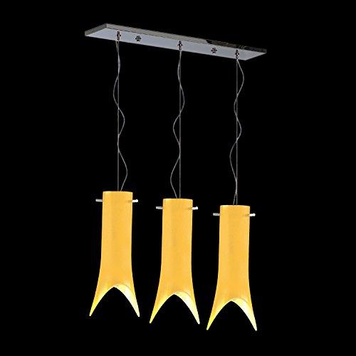 Paola Murano Glas Esstischleuchte Hängeleuchte gelb   Handgefertigt in Italien   Pendelleuchte Modern Dimmbar   Lampe E 27