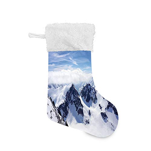 Jieaiuoo Christmas Stocking Hanging Decoration,Snowy Mountain Peaks Tops High Lands Northern Scenic Alps Panorama Valley Print,Christmas Holiday Ornaments Home Decor Toys Candy Gift Bag