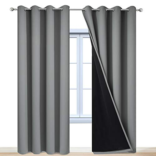 """Yakamok 100% Blackout Curtains 84 Inches Long, 2 Thick Layers Heat and Full Light Blocking Soft Thermal Insulated Drapes for Bedroom(52"""" Wide Each Panel, Grey, 2 Panels)"""