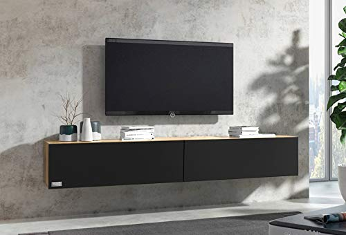 Wuun® 200cm/ Front Schwarz-Matt (Korpus Eiche)/8 Größen/6 Farben/TV Lowboard TV Board hängend Hängeschrank Wohnwand/Somero
