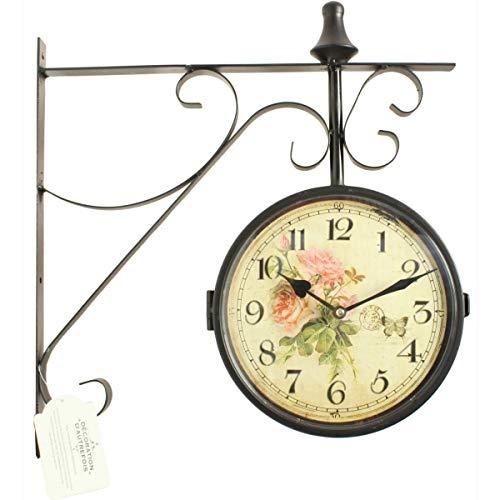 Horloge De Gare Ancienne Double Face Bouquet De Roses 24cm - Fer Forgé - Blanc - Décoration d'Autrefois
