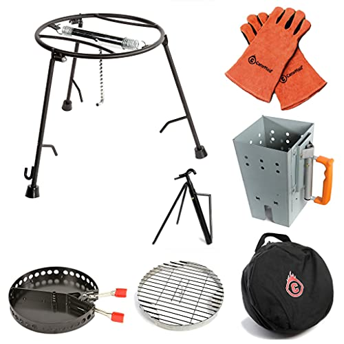 CampMaid Outdoor Cooking Set - Dutch Oven Tools Set - Charcoal Holder & Cast Iron Grill Accessories - Camping Grill Set - Outdoor Cooking Essentials - Camp Kitchen Equipment - (7 Piece Set)