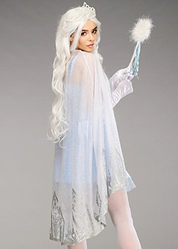 Womens Ice Queen Shimmering Silver Glitter Cape