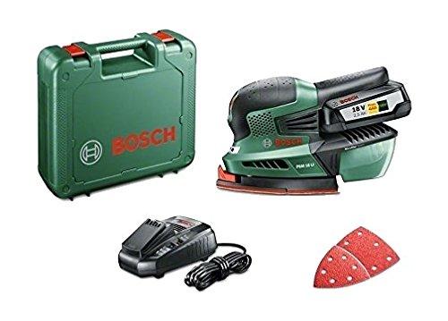 Bosch Multilijadora a batería PSM 18 LI (1 batería, cargador, 3 hojas de lija, maletín, Sistema 18 V, 2,5 Ah)