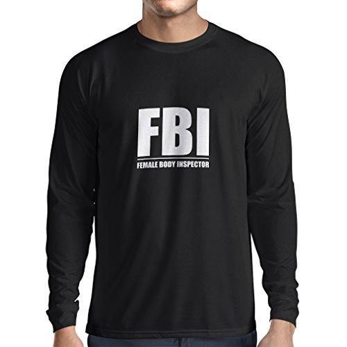 Camiseta de Manga Larga para Hombre Inspector del Cuerpo Femenino - Regalos Divertidos para los Hombres, Citas chistosas (Medium Negro Fluorescente)